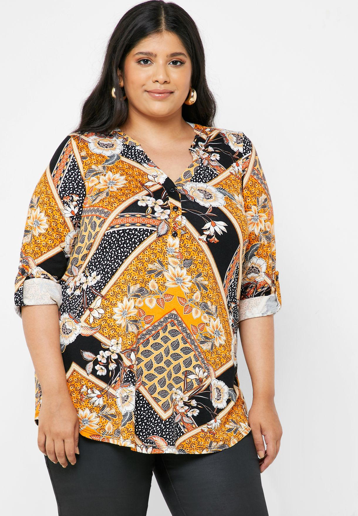 Floral Tile Print Shell Top