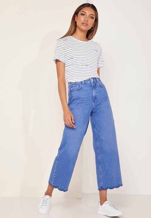 Gramercy Wide Leg Scalloped Hem Mom Jeans