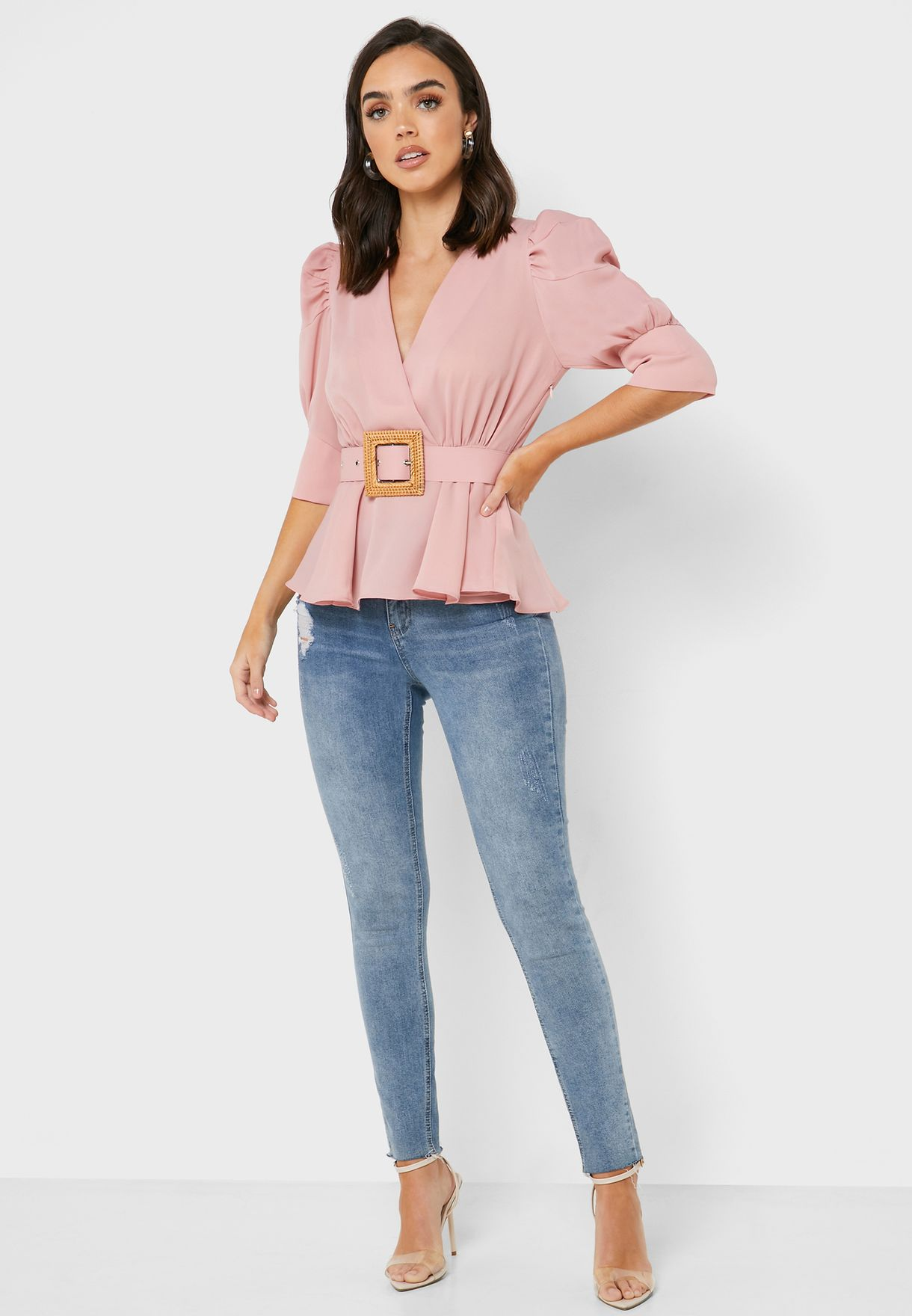 Belted Balloon Sleeve Top