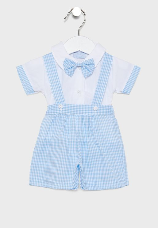 Infant Checked Dungaree + Shirt + Bow Tie Set