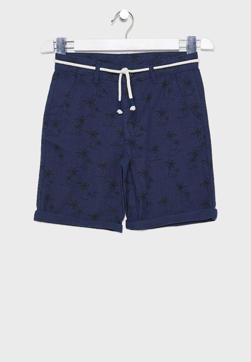 Kids Tie Waist Printed Shorts