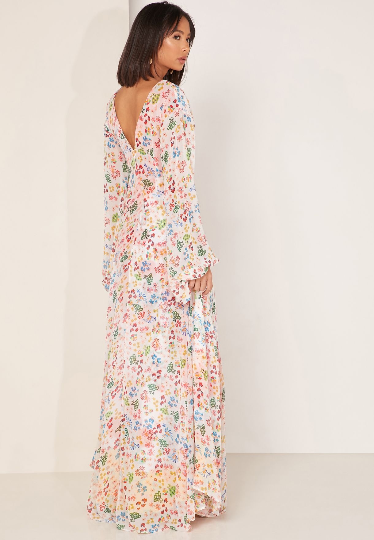 Catalina Flute Sleeve Printed Dress