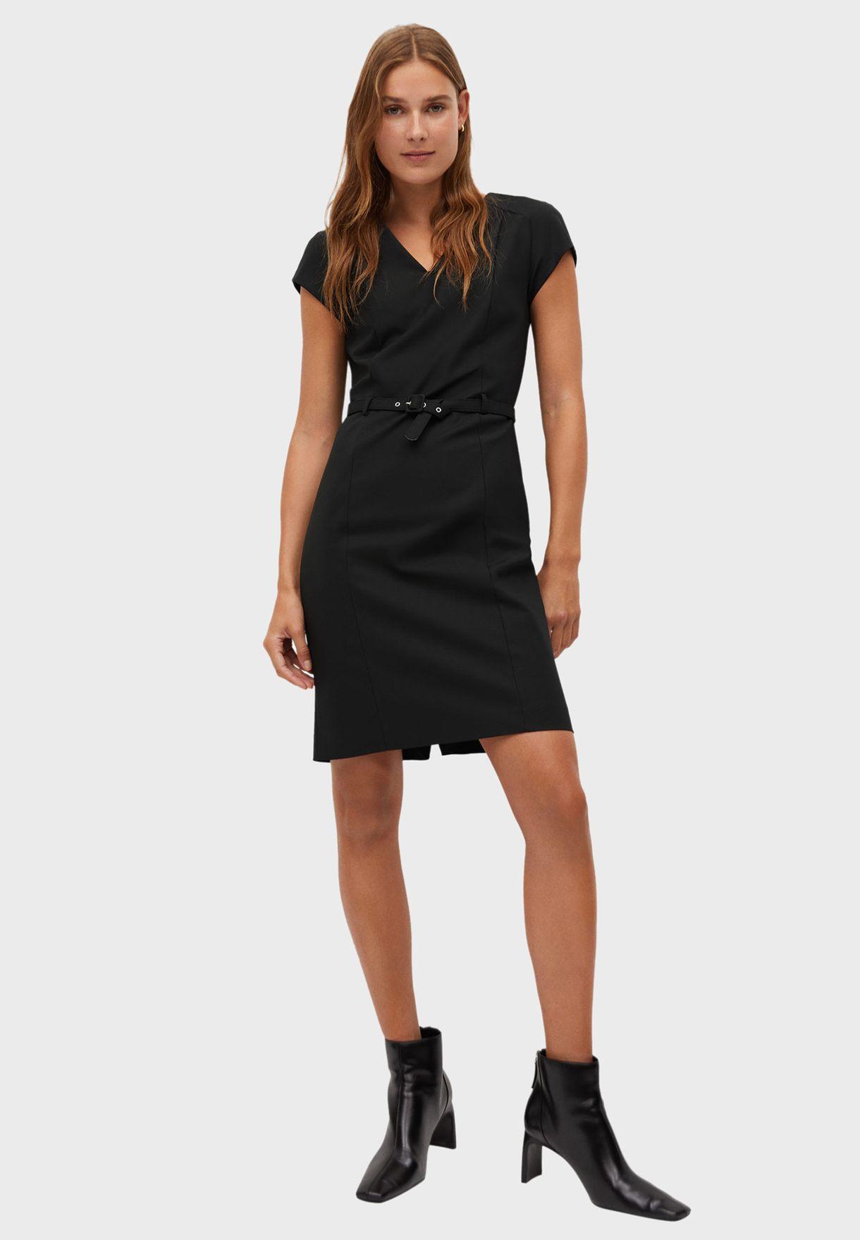 Seam Detail V-Neck Dress