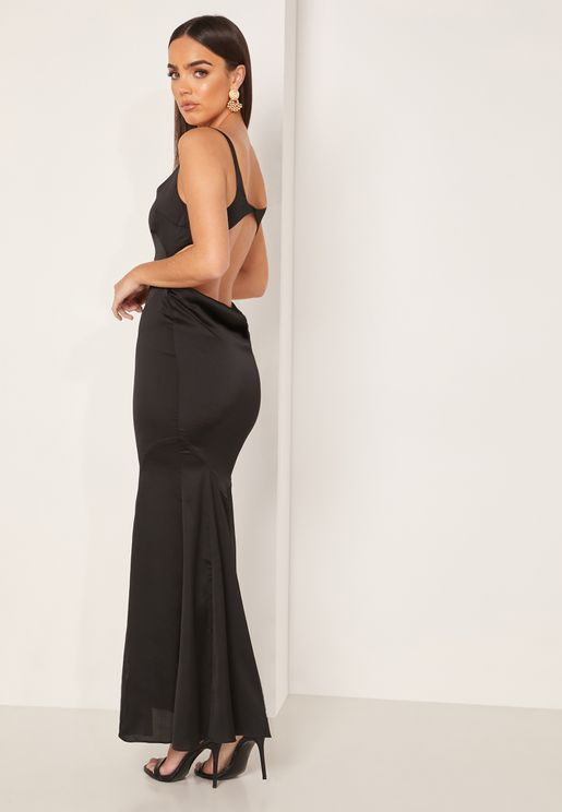 Evangeline Square Neck Cut Out Back Dress