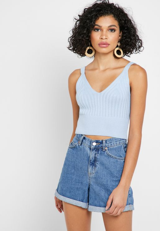 Knitted V-Neck Crop Top