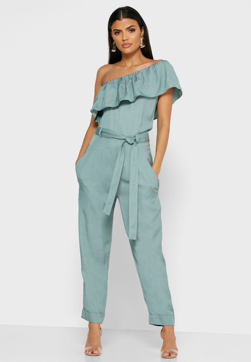 Madeline Tie Waist One Shoulder Jumpsuit