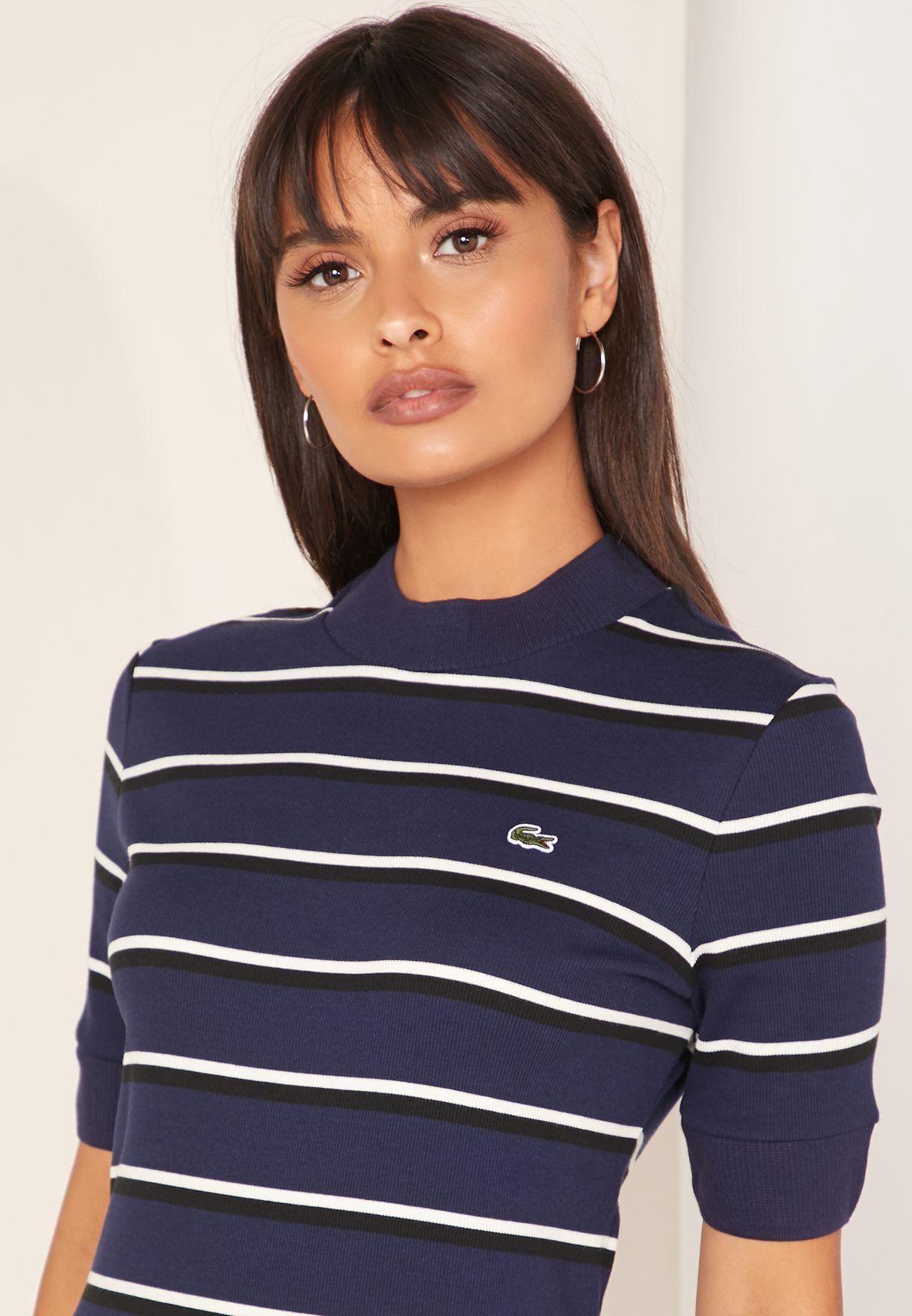 High Neck Striped T-Shirt Dress