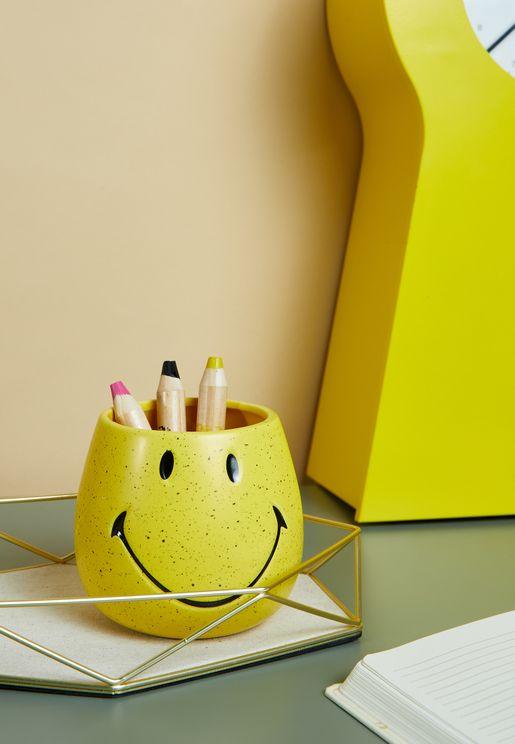 Smiley Pen Holder - Yellow