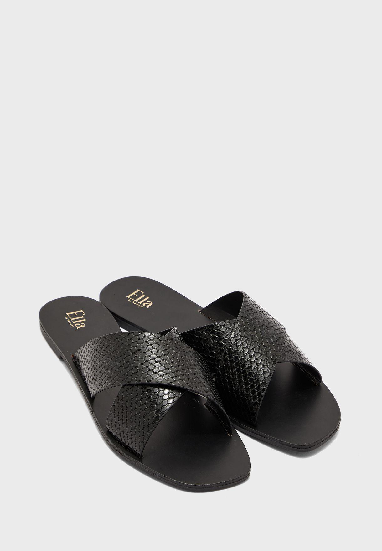 Snake Effect Cross Strap Flat Sandal