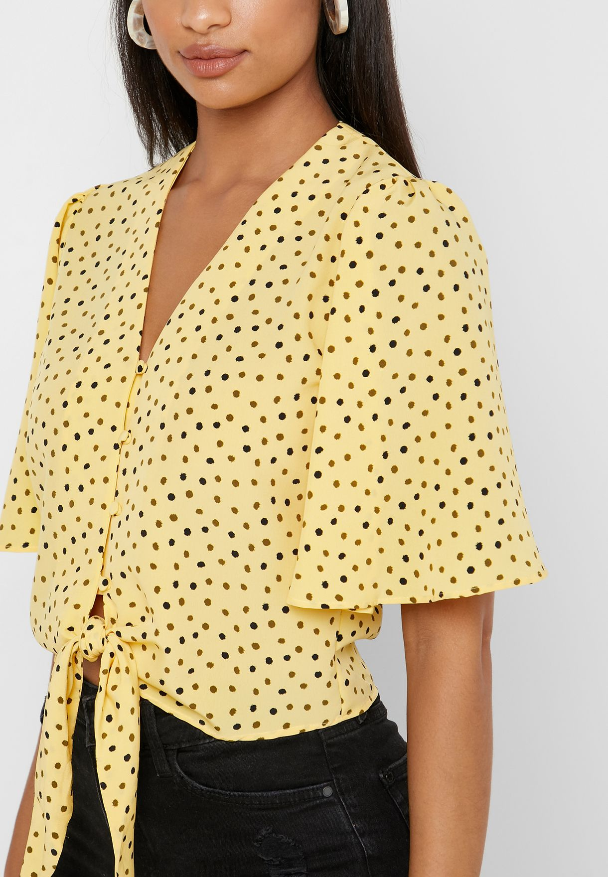 Front Knot Printed Top