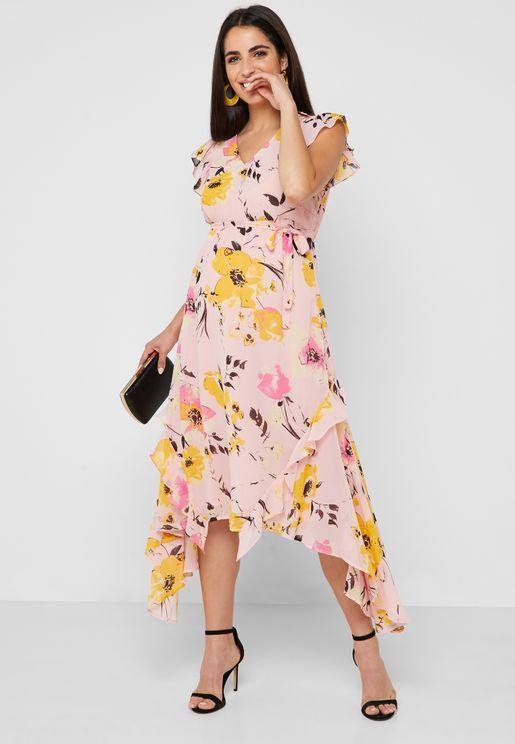 57a1d4093e1 Floral Print Ruffle Midi Dress