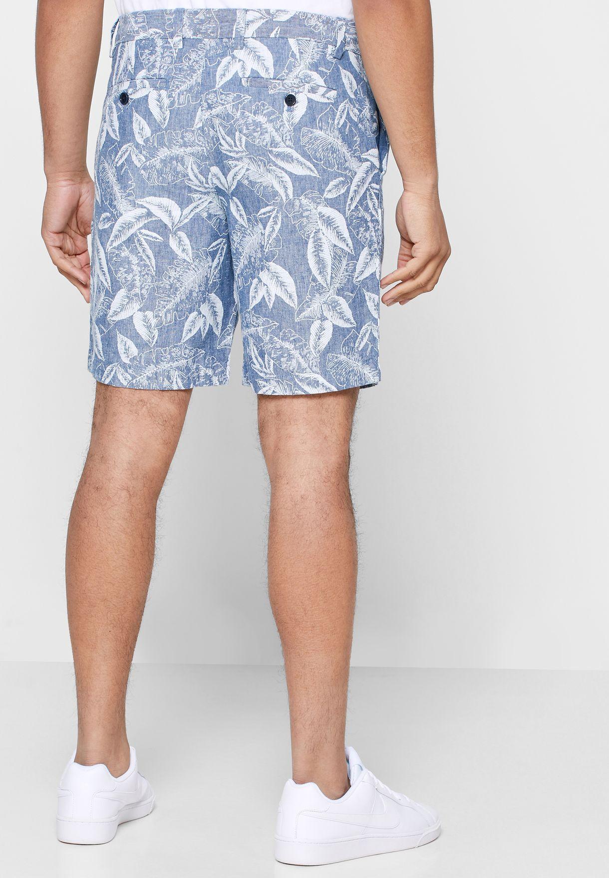 "9"" Leaf Print Shorts"