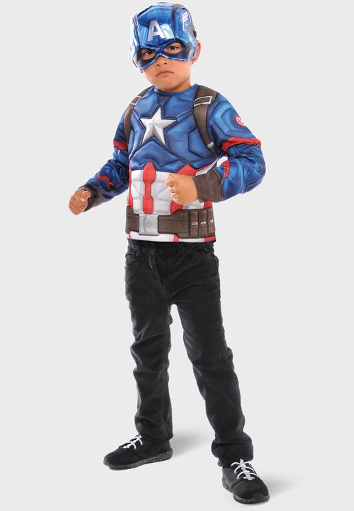 Kids Captain America Super Muscle Top Metallic