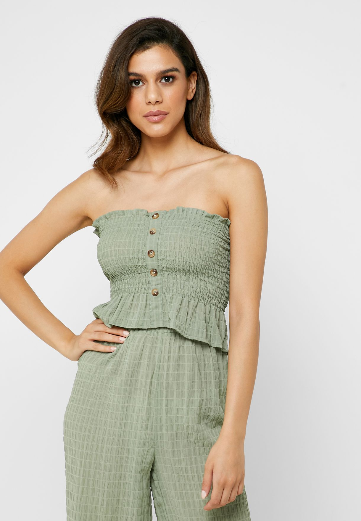 Button Detail Bandeau Shirred Top