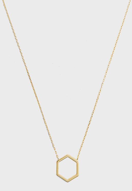 Open Hexagon Ditsy Necklace