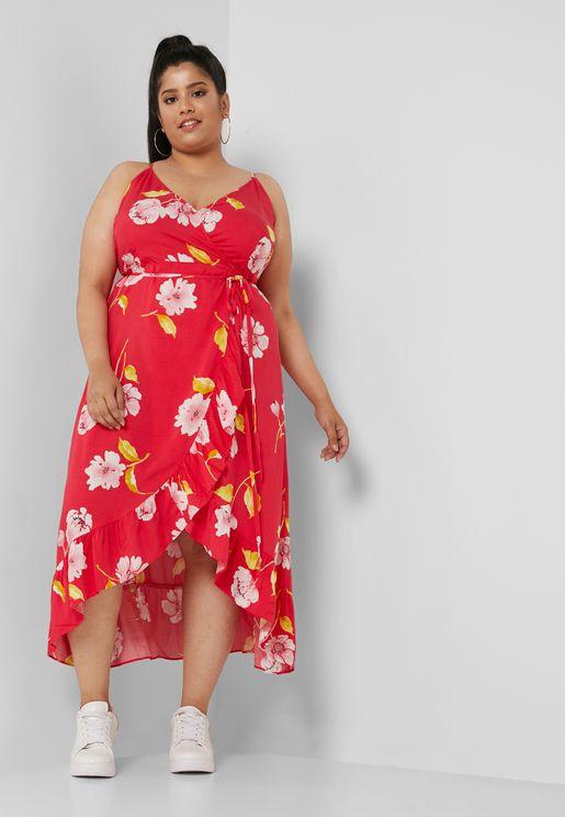 Ruffle Detail Printed Plunge Dress