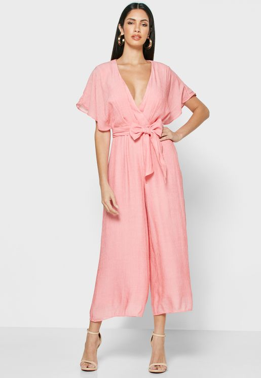 Wide Sleeve Plunge Wrap Jumpsuit