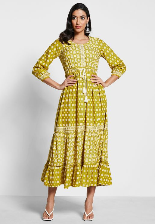 Olive Floral Tiered Maxi Tunic with Dori Belt
