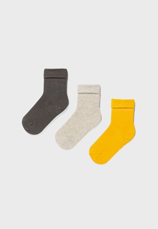 Kids 3 Pack Assorted Crew Socks