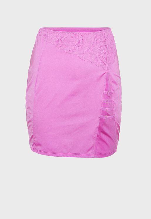 Lace & Dot Mesh Skirt