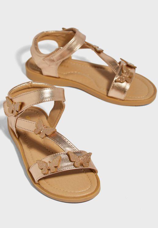 Youth Glitter Butterfly Detail Sandal