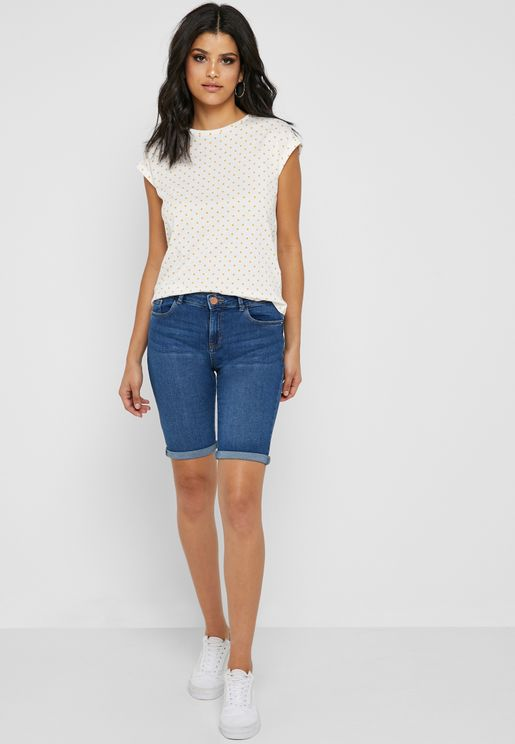 Denim Mid Wash Shorts