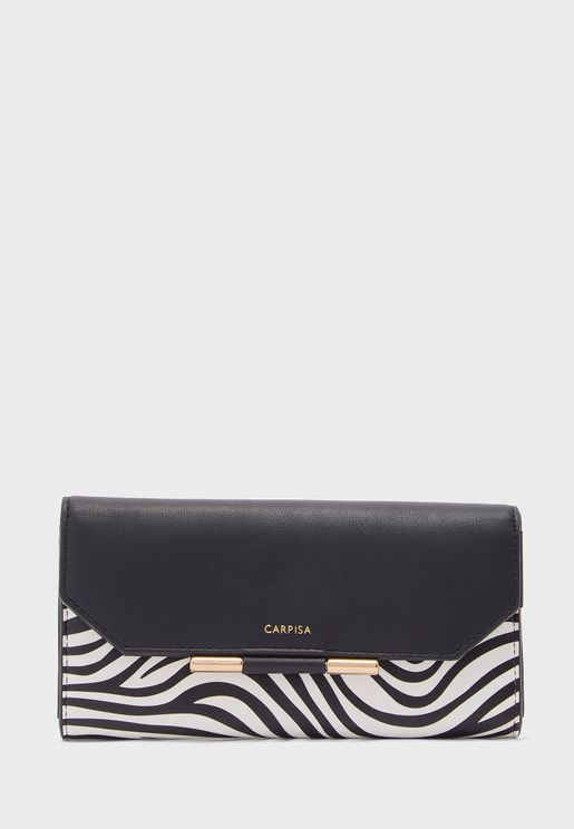 Zebra Print Flap Detail Purse