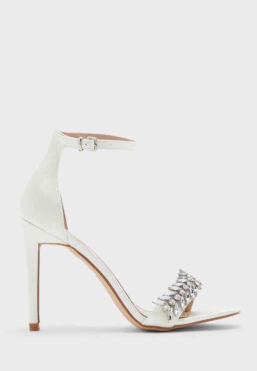 Stone Embellished Ankle Strap Stiletto Sandal