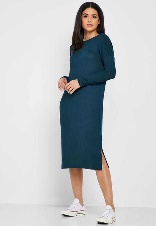 فستان بشق جانبي واربطة متقاطعة في الخلف