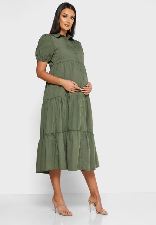 فستان ماكسي بأزرار امامية