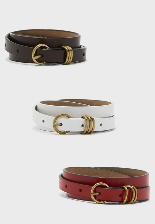 Pack Of 3 Triple Loop Detail Leather Belt