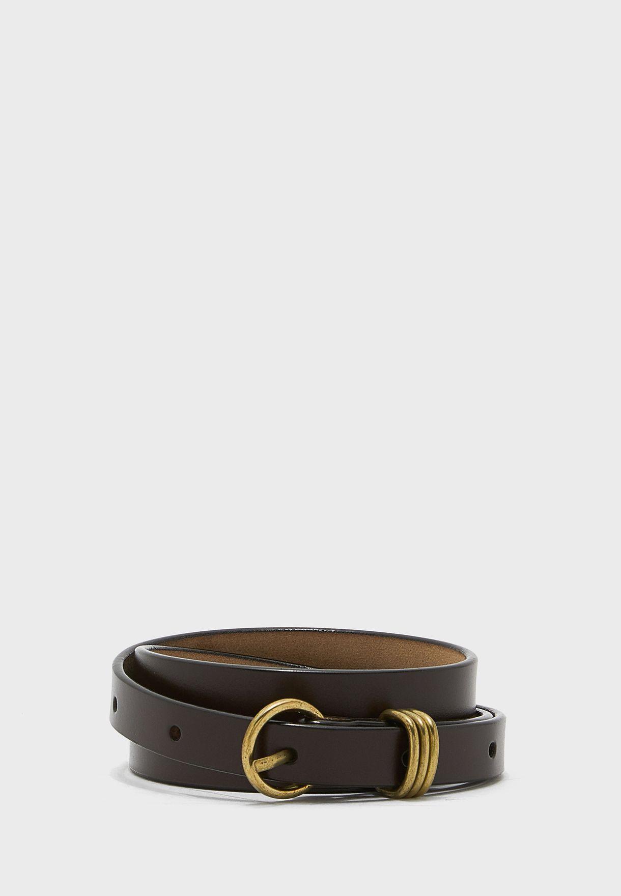 Pack Of 3 Triple Loop Detail Leather Belt