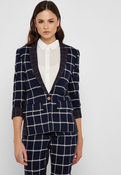 Button Detail Checked Blazer