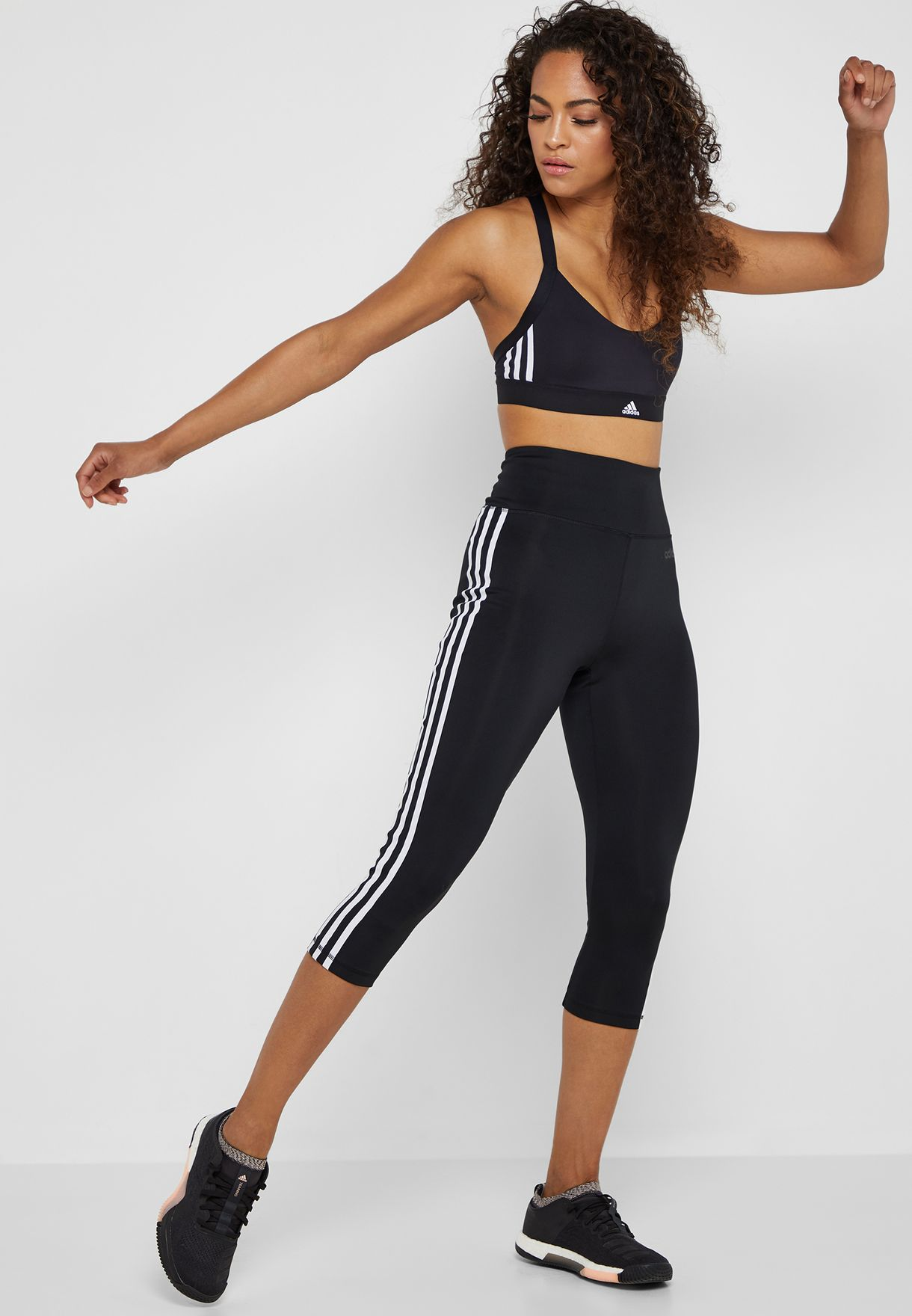 D2M 3 Stripe 3/4 Leggings