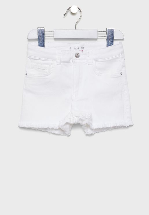 Kids Raw Hem Denim Shorts