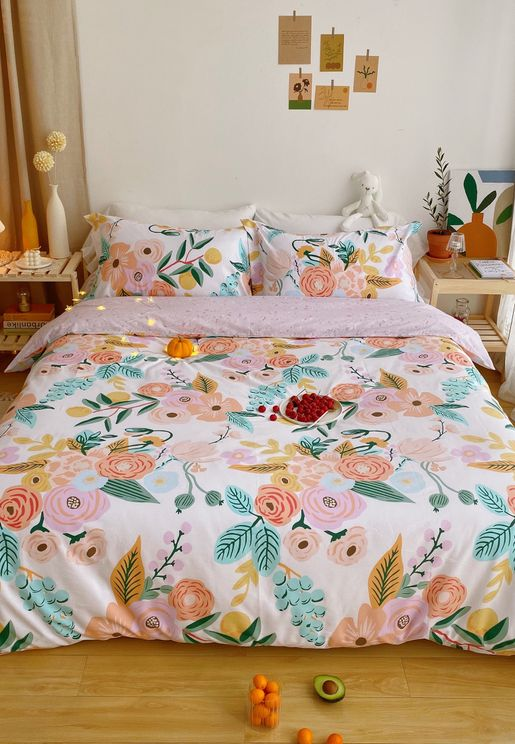 Floral Print Bedding Set - King 200x230cm