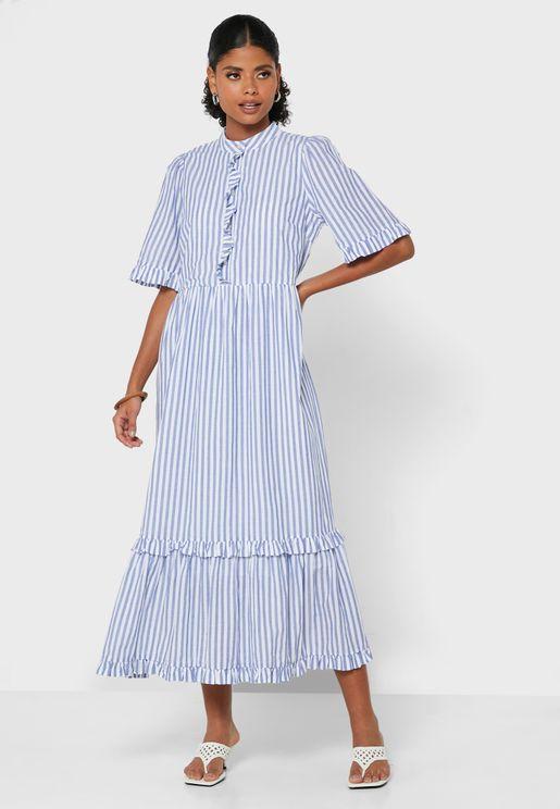Striped High Neck Dress