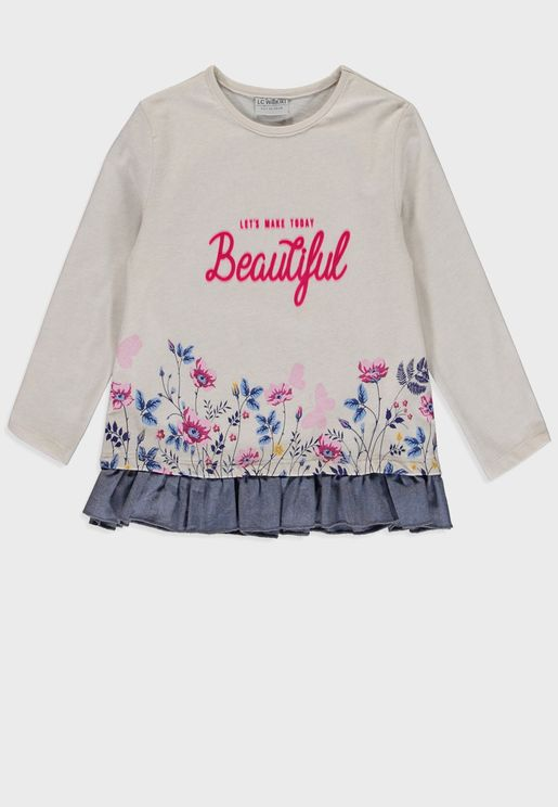 Kids Printed With Hem Frills T-Shirt