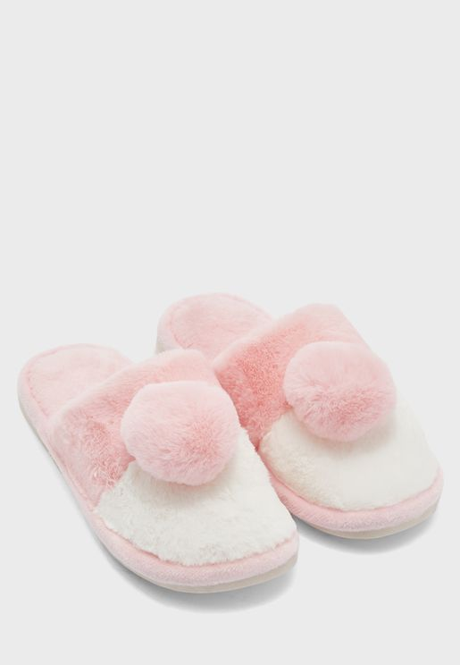 Colourblock Pom Pom Mule Bedroom Slippers