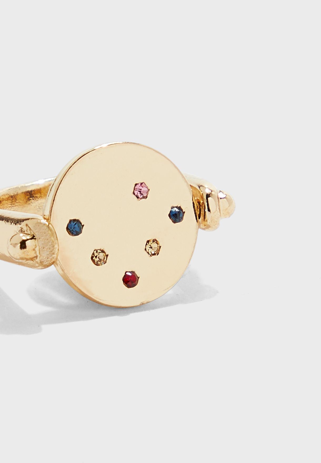 Disc Ring With Coloured Stones