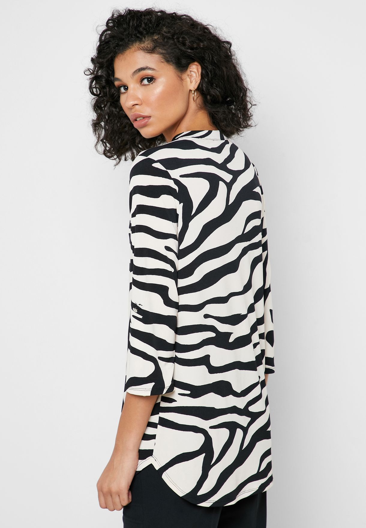 V-Neck Zebra Print Top