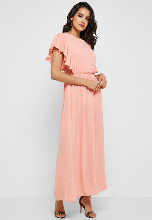 Ruffle Sleeve Maxi Dress