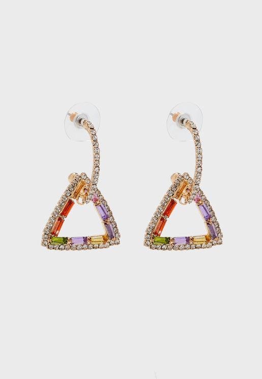 Rainbow Stones Triangle Hoop Drop Earrings