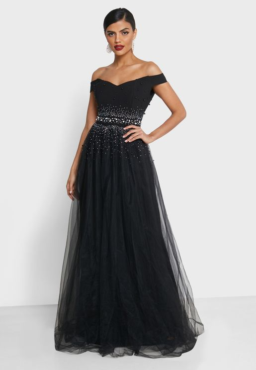 Mesh Overlay Bardot Maxi Dress