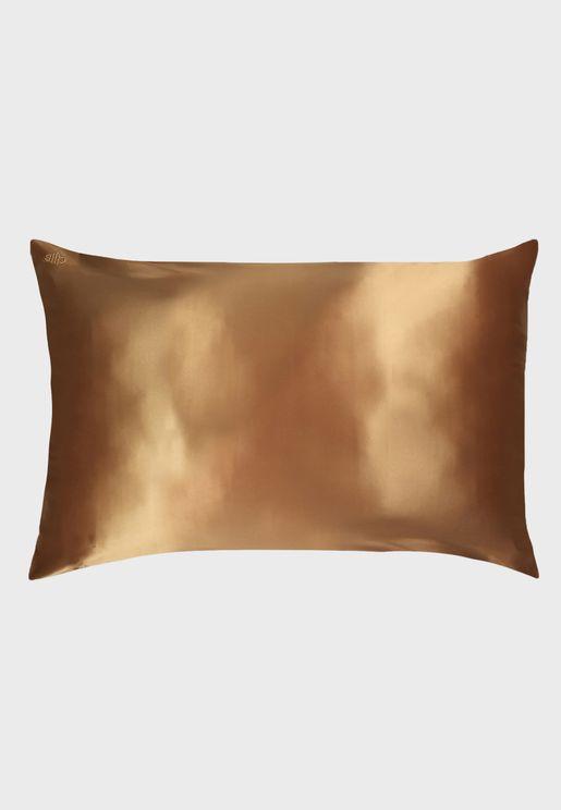 غطاء وسادة حريري كوين سايز - ذهبي