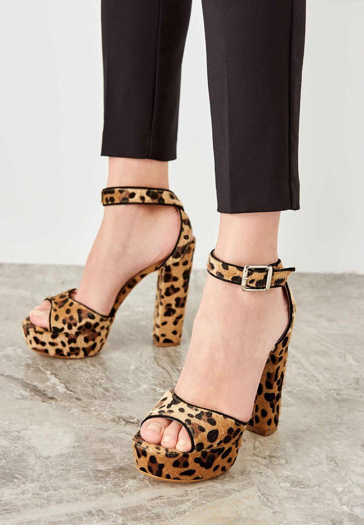 leopard print high heel sandals