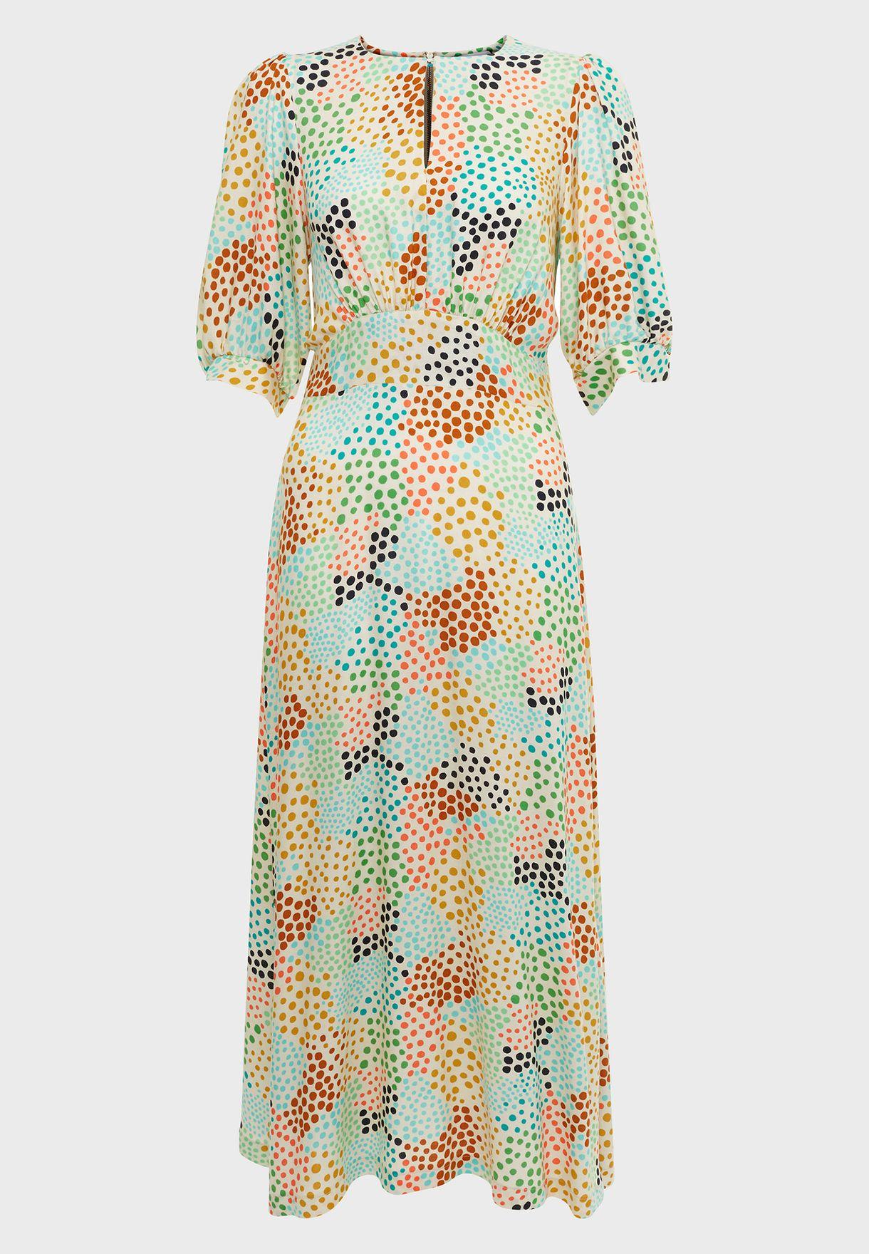 Puff Sleeve Pocket Dress