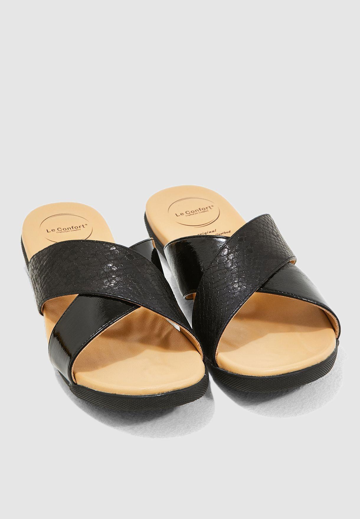 Cross Strap Sandal - Black