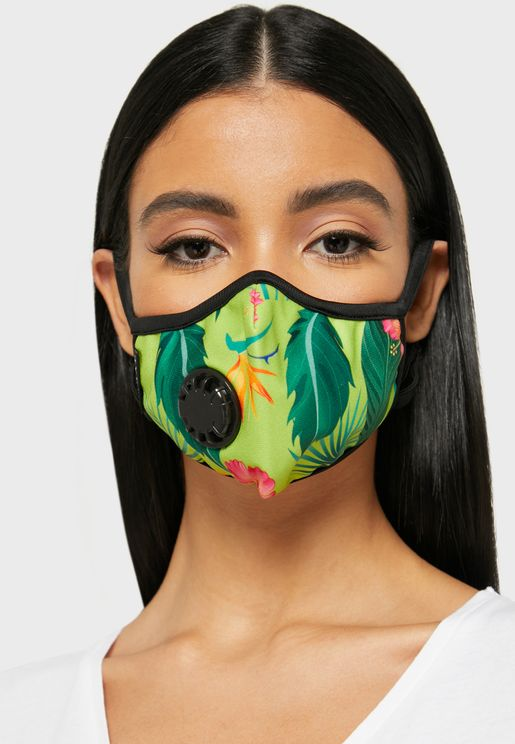 Tropical Print Mask With Vent