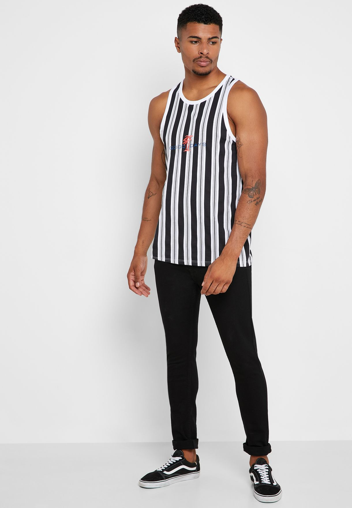 Embroidered Striped Vest